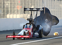 Feb 8, 2020; Pomona, CA, USA; NHRA top fuel driver Doug Kalitta during qualifying for the Winternationals at Auto Club Raceway at Pomona. Mandatory Credit: Mark J. Rebilas-USA TODAY Sports