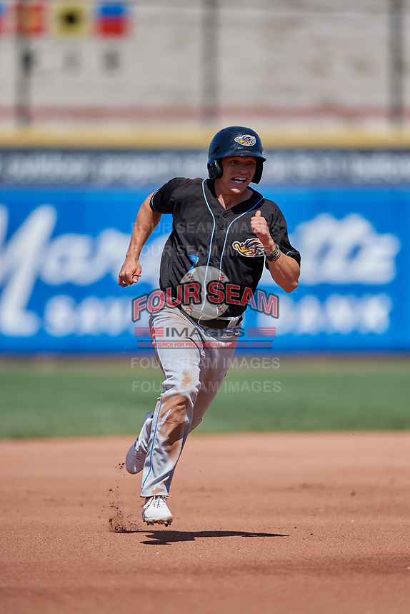 Akron RubberDucks Alex Call (7) running the bases during an Eastern League game against the Erie SeaWolves on June 2, 2019 at UPMC Park in Erie, Pennsylvania.  Erie defeated Akron 8-5 in eleven innings of the second game of a doubleheader.  (Mike Janes/Four Seam Images)