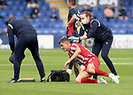 Ross County v St Johnstone…31.07.21  Global Energy Stadium<br />Callum Hendry is treated for a cut to the head<br />Picture by Graeme Hart.<br />Copyright Perthshire Picture Agency<br />Tel: 01738 623350  Mobile: 07990 594431