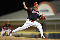Batavia Muckdogs pitcher Ramon Oviedo (32) delivers a pitch during a game against the Brooklyn Cyclones on August 11, 2014 at Dwyer Stadium in Batavia, New York.  Batavia defeated Brooklyn 4-3.  (Mike Janes/Four Seam Images)