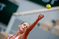 29th September 2020, Roland Garros, Paris, France; French Open tennis, Roland Garros 2020;  Karolina PLISKOVA CZE serves during her match against Mayar SHERIF EGY in the Philippe Chatrier court on the first round of the French Open