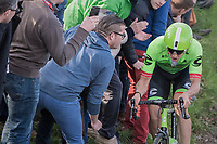 Sep Vanmarcke (BEL Cannondale-Drapac) riding (very) close to the fans up the Oude Kwaremont<br /> <br /> 60th E3 Harelbeke (1.UWT)<br /> 1day race: Harelbeke › Harelbeke - BEL (206km)