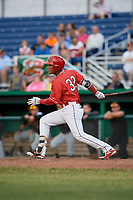 Batavia Muckdogs center fielder Ricardo Cespedes (32) follows through on a swing during a game against the West Virginia Black Bears on June 19, 2018 at Dwyer Stadium in Batavia, New York.  West Virginia defeated Batavia 7-6.  (Mike Janes/Four Seam Images)