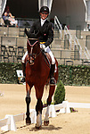 LEXINGTON, KY - April 27, 2017. #18 Foxwood High and Selena O'Hanlon from Canada finish in 9th place on the first day of Dressage at the Rolex Three Day Event at the Kentucky Horse Park.  Lexington, Kentucky. (Photo by Candice Chavez/Eclipse Sportswire/Getty Images)