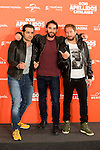"Spanish actors Alfonso Sanchez(L), Dani Rovira(C) and Alberto Lopez during the presentation of the film ""Ocho Apellidos Catalanes"" in Madrid, November 17, 2015.<br /> (ALTERPHOTOS/BorjaB.Hojas)"