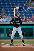 West Virginia Black Bears shortstop Zack Kone (44) at bat during a game against the State College Spikes on August 30, 2018 at Medlar Field at Lubrano Park in State College, Pennsylvania.  West Virginia defeated State College 5-3.  (Mike Janes/Four Seam Images)