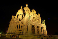 Basilica of the Sacred Heart of Jesus of Paris at sunset Montmartre,- Sacré-Coeur Basilica.