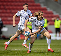 17th April 2021; AJ Bell Stadium, Salford, Lancashire, England; English Premiership Rugby, Sale Sharks versus Gloucester; Billy Twelvetrees of Gloucester Rugby passes the ball