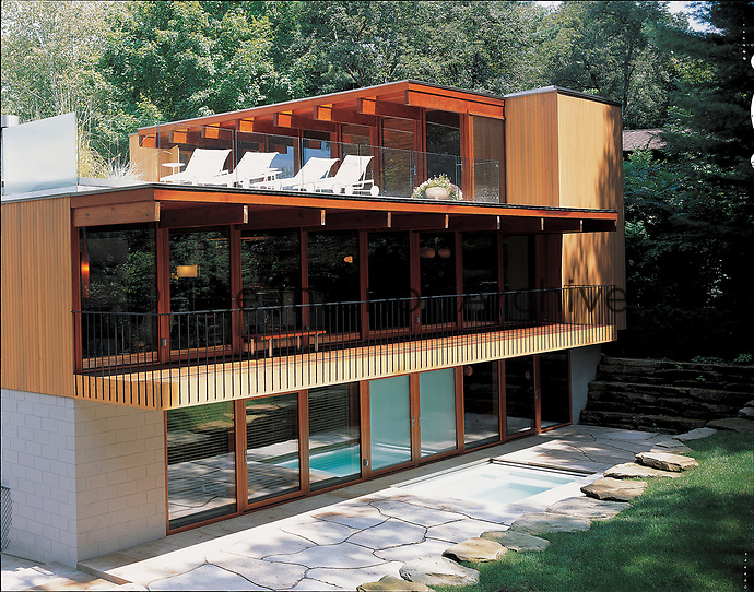 A modern three storey wood clad and glass building with a plunge pool and roof terrace