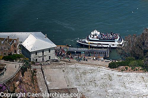 aerial photograph tourists boarding ferry boat Alcatraz island San Francisco
