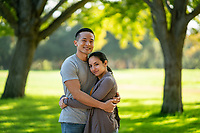 Happy US Army soldier and his wife, at park  model-released, stock photo, DoD compliant, for sale, for advertising