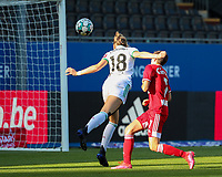 Charlotte Cranshoff (18) of OHL has an attempt on goal during a female soccer game between Oud Heverlee Leuven and Standard Femina de Liege on the third matchday of the 2021 - 2022 season of Belgian Womens Super League , Sunday 5 th of September 2021  in Leuven , Belgium . PHOTO SPORTPIX.BE   SEVIL OKTEM