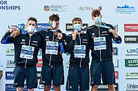 Team Italy ITA Bronze Medal <br /> Men 4X200m Freestyle Final<br /> swimming, nuoto<br /> LEN European Junior Swimming Championships 2021<br /> Rome 2179<br /> Stadio Del Nuoto Foro Italico <br /> Photo Andrea Masini / Deepbluemedia / Insidefoto