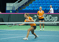 Moskou, Russia, Februari 4, 2016,  Fed Cup Russia-Netherlands,  Dutch team practise doubles Cindy Burger and Richel Hogenkamp (R) <br /> Photo: Tennisimages/Henk Koster