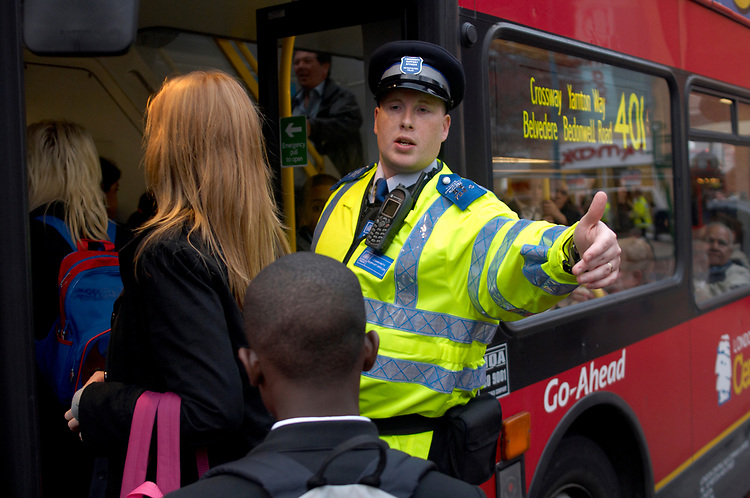 Community Police officer Trevor Hamsere- On the bus route where many school meet in the Broadway area of Bexley Heath town centre Kent.