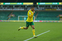 13th February 2021; Carrow Road, Norwich, Norfolk, England, English Football League Championship Football, Norwich versus Stoke City; Emi Buendia of Norwich City celebrates his goal for 3-1 in the 64th minute