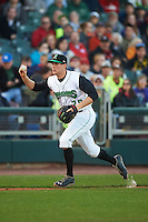 Dayton Dragons third baseman Gavin LaValley (29) chases down a runner during a game against the Great Lakes Loons on May 21, 2015 at Fifth Third Field in Dayton, Ohio.  Great Lakes defeated Dayton 4-3.  (Mike Janes/Four Seam Images)