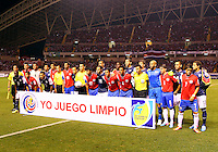 SAN JOSE, COSTA RICA - September 06, 2013: Players of the USA MNT and of the Costa Rica MNT during a 2014 World Cup qualifying match at the National Stadium in San Jose on September 6. USA lost 3-1.