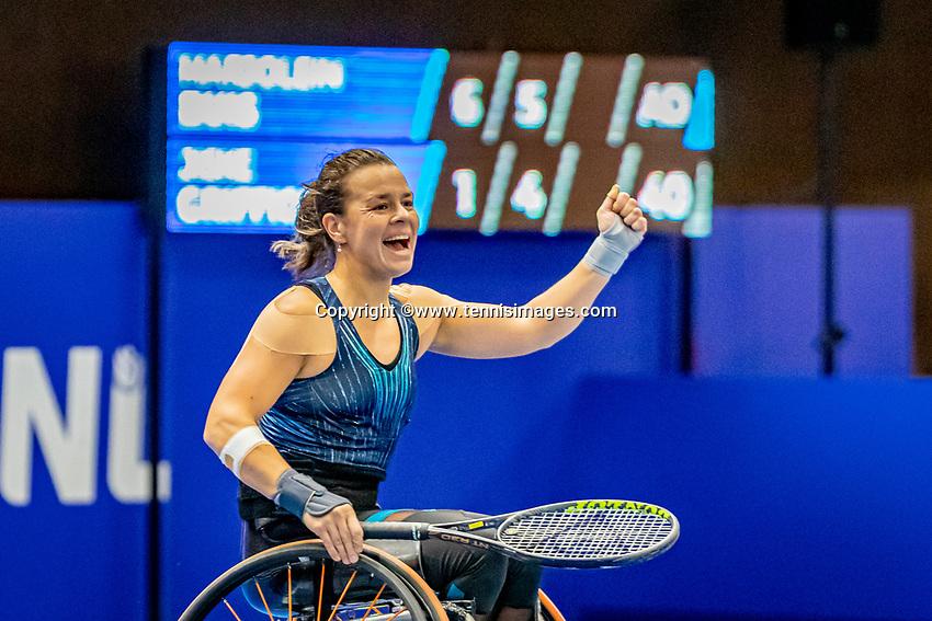 Alphen aan den Rijn, Netherlands, December 22, 2019, TV Nieuwe Sloot,  NK Tennis, Final womens wheelchair,  Marjolein Buis (NED) celebrates her win and is Dutch champion<br /> Photo: www.tennisimages.com/Henk Koster