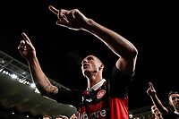 1st May 2021; Bankwest Stadium, Parramatta, New South Wales, Australia; A League Football, Western Sydney Wanderers versus Sydney FC; Mitch Duke of Western Sydney Wanderers leads the singing in front of the Wanderers crowd