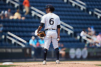 Scranton/Wilkes-Barre RailRiders starting pitcher Deivi García (6) looks to his catcher for the sign against the Rochester Red Wings at PNC Field on July 25, 2021 in Moosic, Pennsylvania. (Brian Westerholt/Four Seam Images)