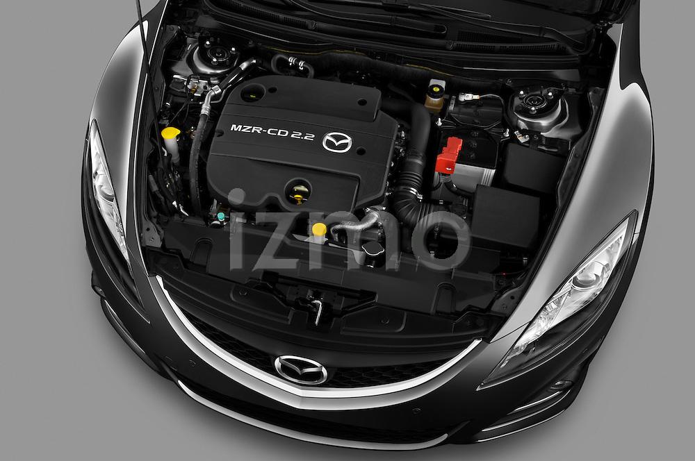 High angle engine detail of a 2011 Mazda 6 Active Wagon  .
