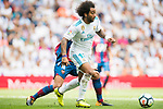 Marcelo Vieira da Silva Junior (Front) of Real Madrid fights for the ball with Roberto Suarez Pier, Rober, (back) of Levante UD during the La Liga match between Real Madrid and Levante UD at the Estadio Santiago Bernabeu on 09 September 2017 in Madrid, Spain. Photo by Diego Gonzalez / Power Sport Images