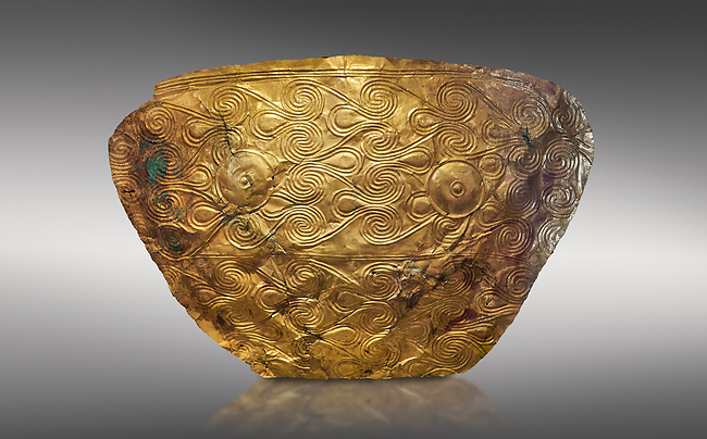 Mycenaean Gold breat plate from Grave IV, Grave Circle A, Myenae, Greece. National Archaeological Museum Athens. 16th Cent BC. Cat No 626, 625.