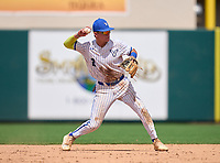 Lakeland Christian Vikings shortstop Jake Fox (2) throws to first base during the 42nd Annual FACA All-Star Baseball Classic on June 6, 2021 at Joker Marchant Stadium in Lakeland, Florida.  (Mike Janes/Four Seam Images)