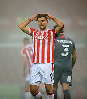 29th December 2020; Bet365 Stadium, Stoke, Staffordshire, England; English Football League Championship Football, Stoke City versus Nottingham Forest; A frustrated Sam Vokes of Stoke City after missing a shot on goal