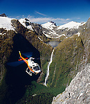 Squirrel helicopter near Lake Quill and the Sutherland Falls in Fiordland National Park. New Zealand.