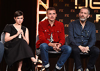 """PASADENA, CA - JANUARY 9: (L-R) Cast members Cailee Spaeny and Karl Glusman and Executive Producer Allon Reich attend the panel for """"Devs"""" during the FX Networks presentation at the 2020 TCA Winter Press Tour at the Langham Huntington on January 9, 2020 in Pasadena, California. (Photo by Frank Micelotta/FX Networks/PictureGroup)"""