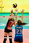 Nana Iwasaka of Japan (L) fights for the ball with Agnes Victoria Michel Tosi of Argentina (R) during the FIVB Volleyball Nations League Hong Kong match between Japan and Argentina on May 31, 2018 in Hong Kong, Hong Kong. Photo by Marcio Rodrigo Machado / Power Sport Images