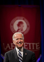 Vice President Joe Biden's address, ?Charting Our Economic Destiny: The Pursuit of American Innovation,?  was delivered to a pack crowd at Kirby Sports Center. Student Government President Caroline Lang '13 introduced him at the event along with President Daniel Weiss.....Chuck Zovko  / Zovko Photographic llc.May 2, 2012