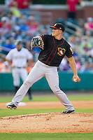Quad Cities River Bandits starting pitcher Blaine Sims (16) in action against the Bowling Green Hot Rods at Bowling Green Ballpark on July 26, 2014 in Bowling Green, Kentucky.  The River Bandits defeated the Hot Rods 9-2.  (Brian Westerholt/Four Seam Images)