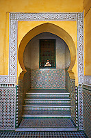 Arabesque Berber tiled niche of the Mauseleum of Moulay Ismaïl Ibn Sharif , reigned 1672–1727. A UNESCO World Heritage Site .Meknes, Meknes-Tafilalet, Morocco.