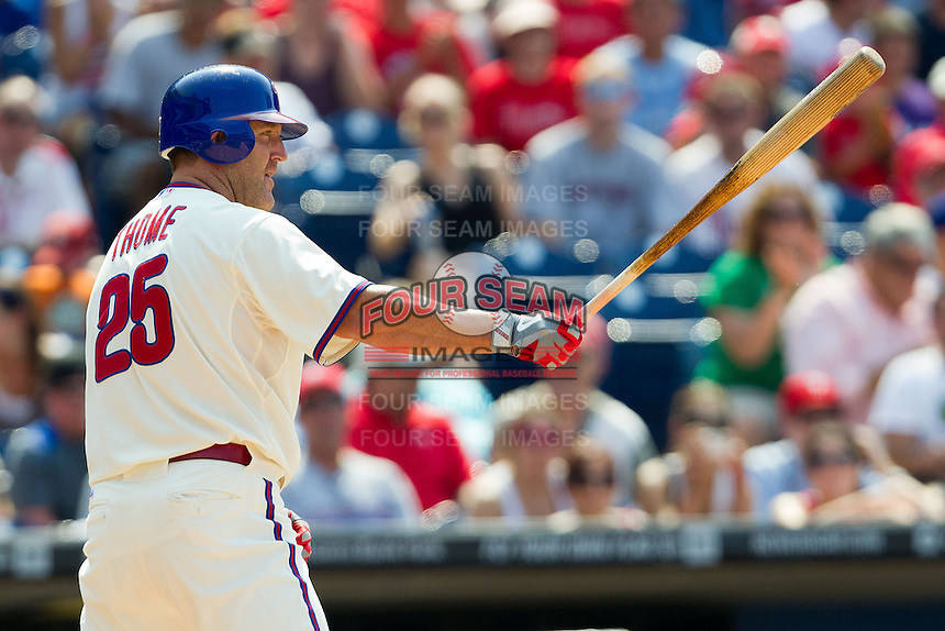Philadelphia Phillies pinch hitter Jim Thome #25 at bat during the Major League Baseball game against the Pittsburgh Pirates on June 28, 2012 at Citizens Bank Park in Philadelphia, Pennsylvania. This would be Thome's final appearance for the Phillies before he was traded a few days later. The Pirates defeated the Phillies 5-4. (Andrew Woolley/Four Seam Images)