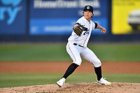 Asheville Tourists starting pitcher Ryan Rolison (18) delivers a pitch during a game against the Charleston RiverDogs at McCormick Field on April 10, 2019 in Asheville, North Carolina. The  RiverDogs defeated the Tourists 5-3. (Tony Farlow/Four Seam Images)