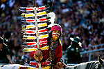FSU mascot Osceola atop Renegade during a game against ULM at Doak Campbell Stadium in Tallahassee, Florida during an NCAA football game September 7, 2019.  Florida State defeated ULM 45-44 in overtime.