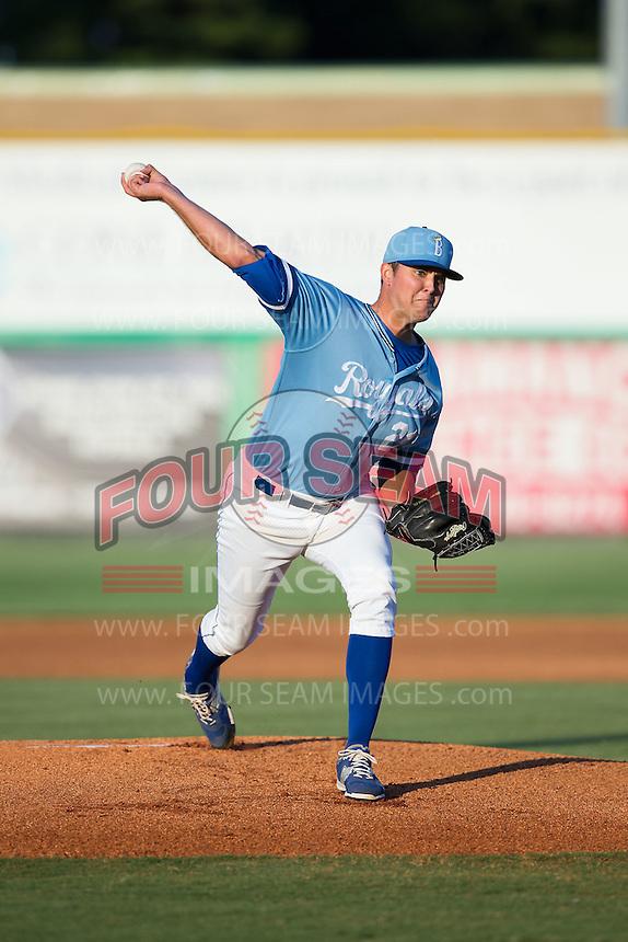 Burlington Royals starting pitcher Alex Luna (21) in action against the Danville Braves at Burlington Athletic Park on August 13, 2015 in Burlington, North Carolina.  The Braves defeated the Royals 6-3. (Brian Westerholt/Four Seam Images)