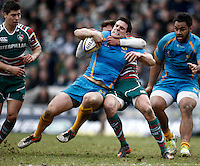 Photo: Richard Lane/Richard Lane Photography. Leicester Tigers v London Wasps. Aviva Premiership. 14/04/2013 Wasps' Charlie Hayter is tackled by Tigers' Toby Flood.