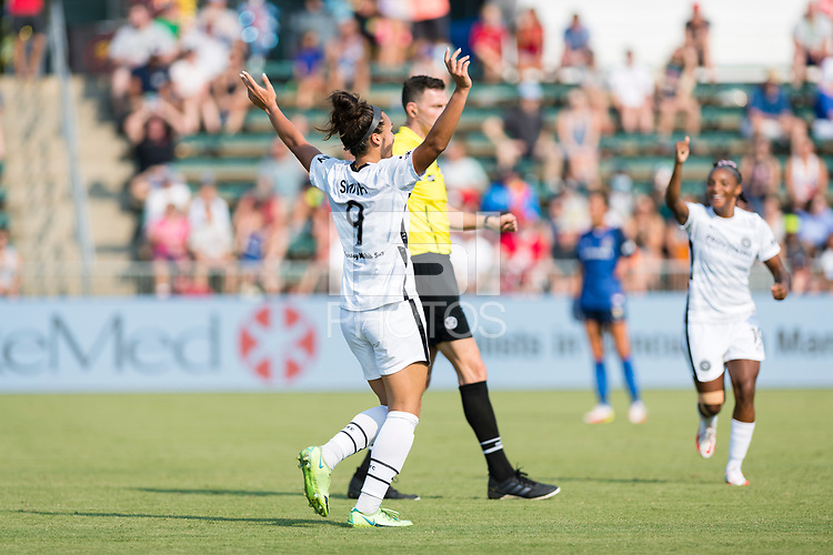 CARY, NC - SEPTEMBER 12: Sophia Smith #9 of the Portland Thorns celebrates her goal during a game between Portland Thorns FC and North Carolina Courage at WakeMed Soccer Park on September 12, 2021 in Cary, North Carolina.