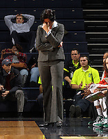 Jan. 6, 2011; Charlottesville, VA, USA; Miami Hurricanes head coach Katie Meier reacts to a call during the game against the Virginia Cavaliers at the John Paul Jones Arena.  Mandatory Credit: Andrew Shurtleff-