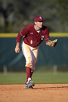 Boston College Eagles shortstop Johnny Adams (8) during a game against the Indiana State Sycamores on February 27, 2016 at North Charlotte Regional Park in Port Charlotte, Florida.  Boston College defeated Indiana State 5-3.  (Mike Janes/Four Seam Images)