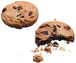 chocolate chip cookies, one whole, one bitten on shadowless white background