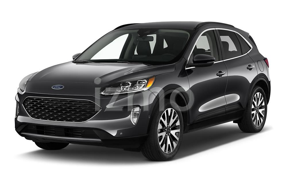 2020 Ford Escape Titanium 5 Door SUV Angular Front automotive stock photos of front three quarter view