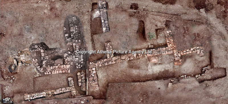 Pictured: An aerial picture of part of the ancient Tenea city's outlay.<br /> Re: The Culture Ministry of Greece has announced that archaeologists have located the first tangible remains of a lost city that the ancient Greeks believed was first settled by Trojan captives of war after the sack of Troy.<br /> A statement said excavations between September and October in the southern region of the Peleponnese unveiled 'proof of the existence of the ancient city' of Tenea, which has been until now known mostly from ancient texts.<br /> Finds included walls and clay, marble or stone floors of buildings, as well as household pottery, a bone gaming die and more than 200 coins dating from the 4th century B.C. to late Roman times.