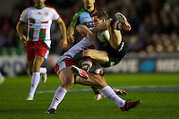 Dane Haylett-Petty of Biarritz Olympique receives a yellow card for this tackle on Tom Williams of Harlequins whilst he is in the air during the Heineken Cup match between Harlequins and Biarritz Olympique Pays Basque at the Twickenham Stoop on Saturday 13th October 2012 (Photo by Rob Munro)