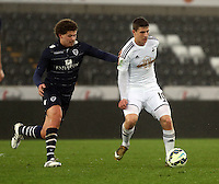 Pictured: Adnan Maric of Swansea (R) Monday 30 March 2015<br /> Re: U21 Professional Development League 2, Swansea City AFC v Leeds United FC at the Liberty Stadium.