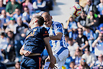CD Leganes's Martin Braithwaite fight for the ball during La Liga match, Round 25 between CD Leganes and Valencia CF at Butarque Stadium in Leganes, Spain. February 24, 2019. (ALTERPHOTOS/A. Perez Meca)